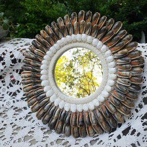 Seashell Mirror Unique OOAK Handmade Boho Style